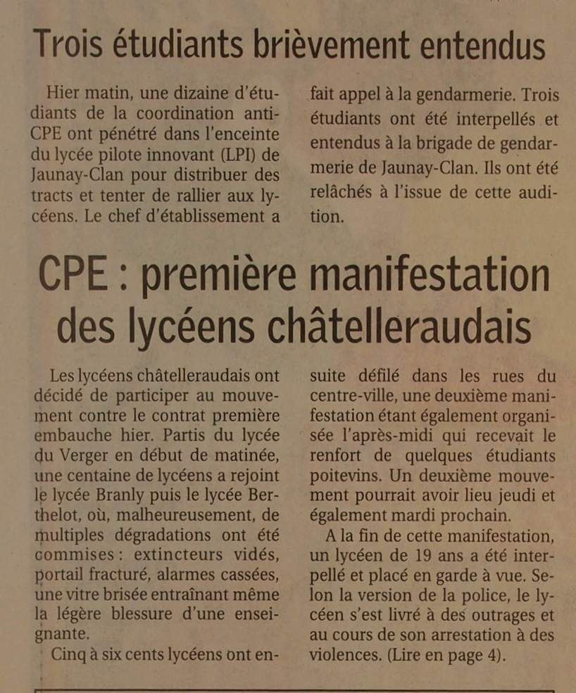 Mardi 21 Mars 2006 : menace de blocus de la ville de Poitiers