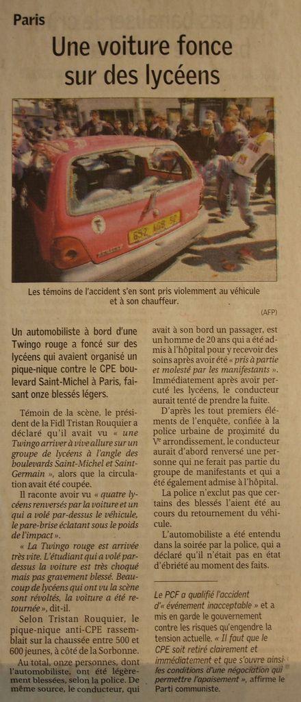Vendredi 7 Avril 2006 : rien à Poitiers, enfin presque rien