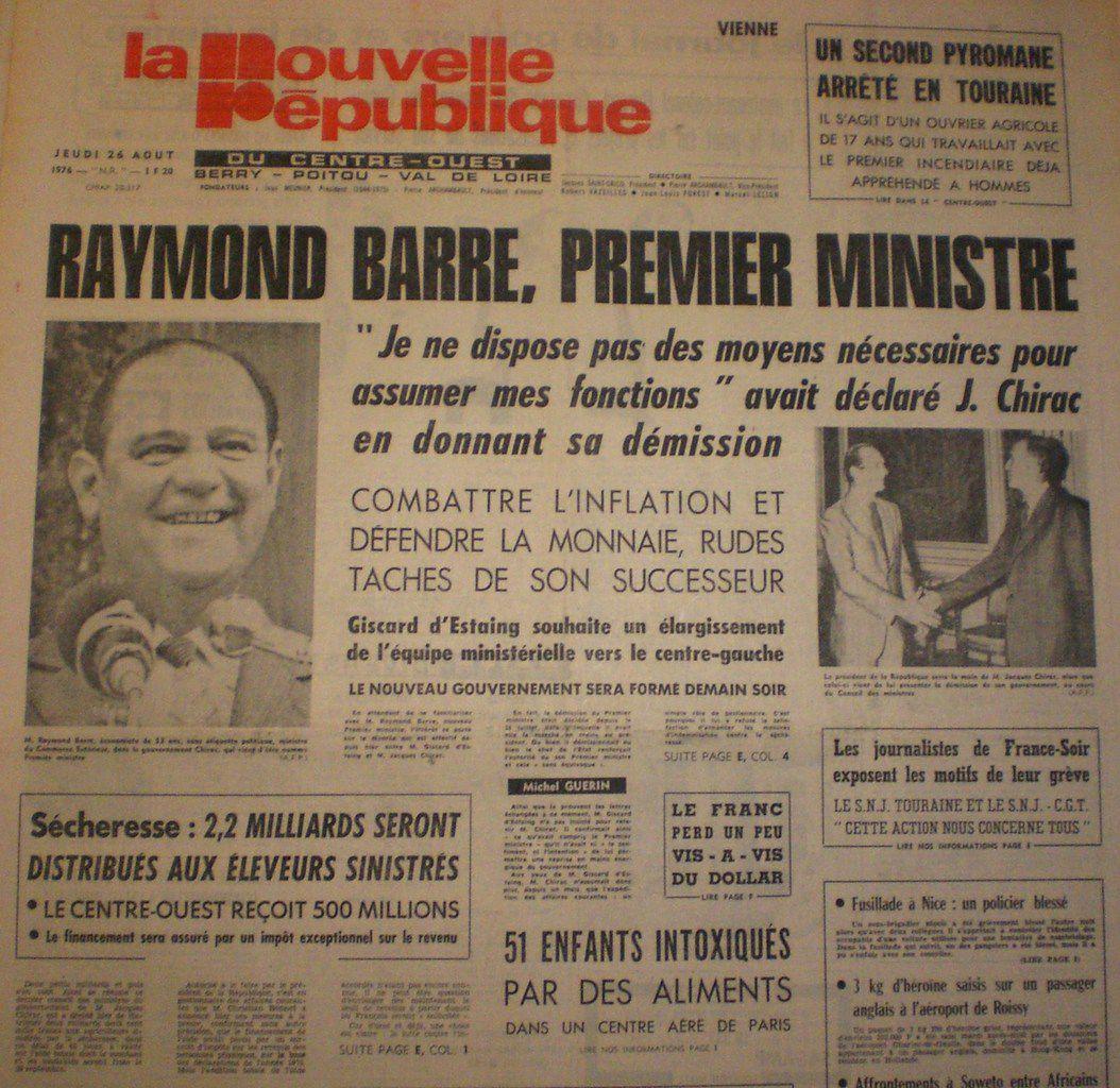 La Une de la Nouvelle République, Jeudi 26 Août 1976.