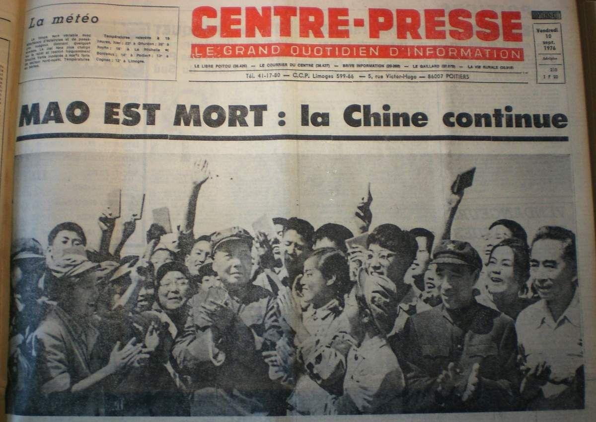 9 Septembre 1976 : mort de Mao &quot&#x3B;phare de la pensée mondiale&quot&#x3B;