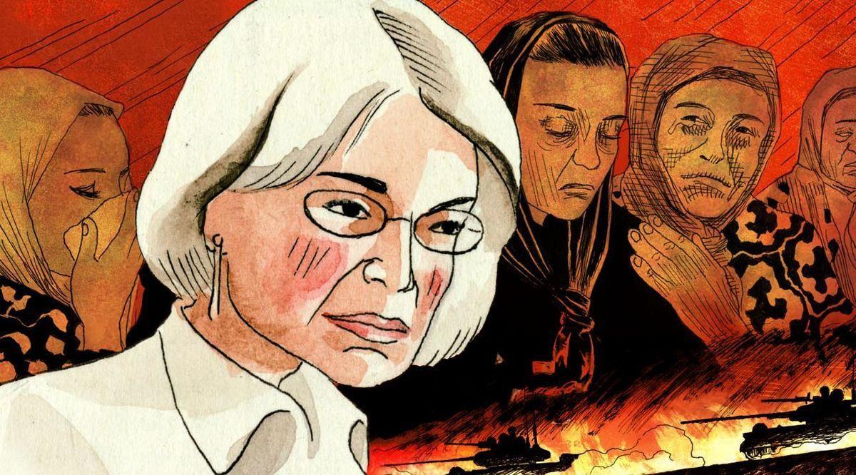 Anna Politkovskaïa, sur la couverture des Cahiers Russes, par Igort, 2012.