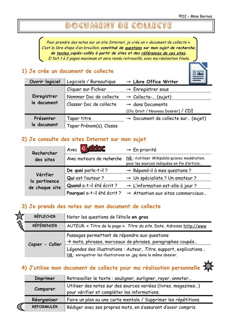 Le document de collecte