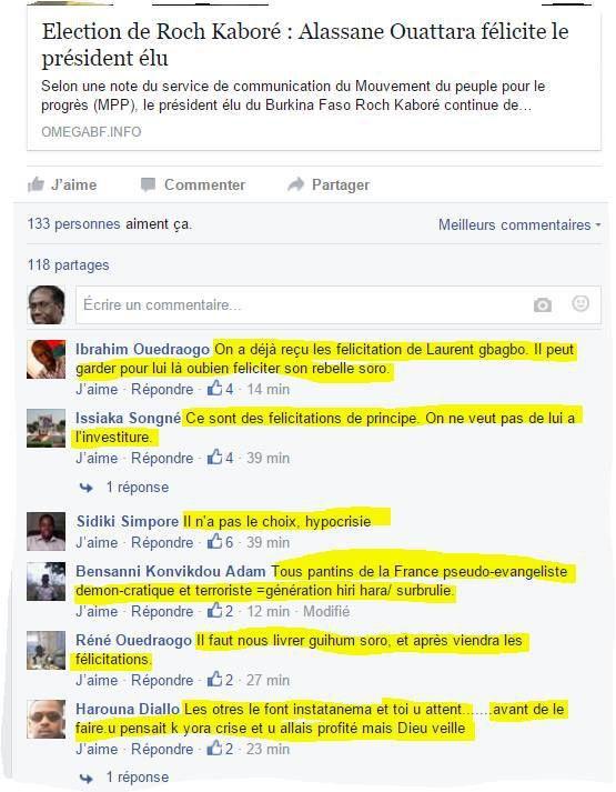 Burkina Faso : réactions des hommes intègres face aux félicitations