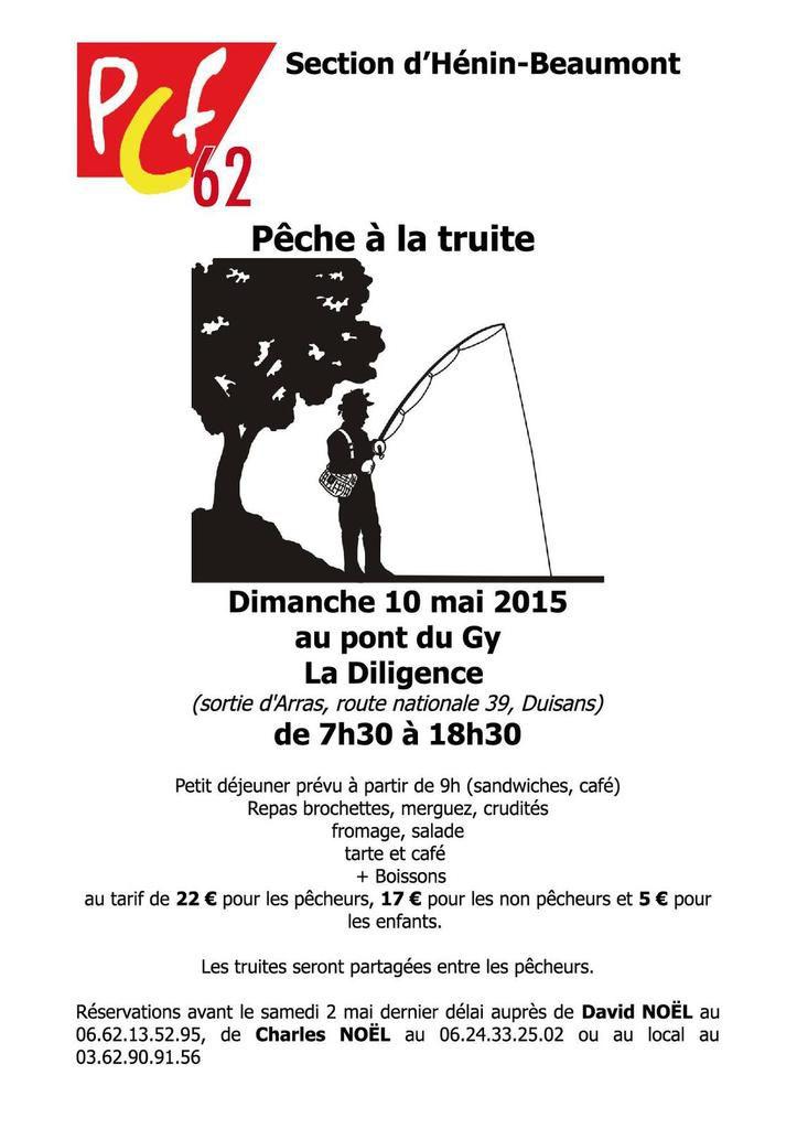 Le PCF d'Hénin-Beaumont organise sa 5ème journée à la pêche au Pont du Gy le 10 mai prochain