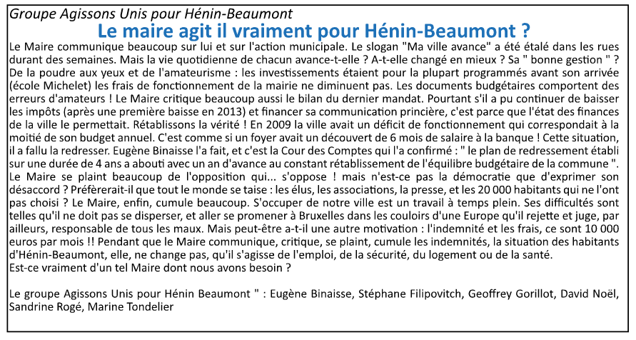 La tribune libre de l'opposition (Hénin-Beaumont c'est vous n°10, avril 2015)