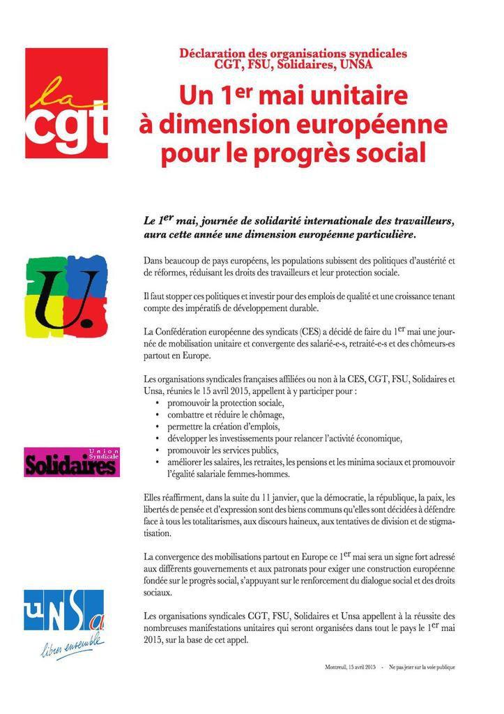 Un 1er mai unitaire à dimension européenne pour le progrès social