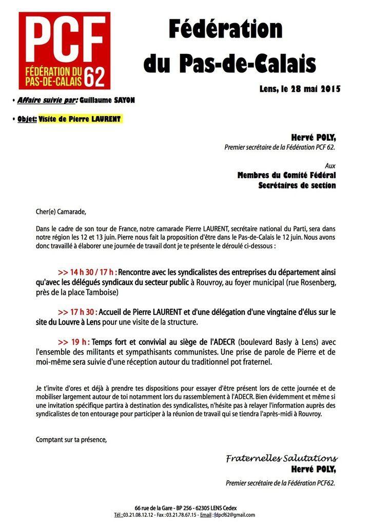 Pierre Laurent dans le Pas-de-Calais le 12 juin prochain