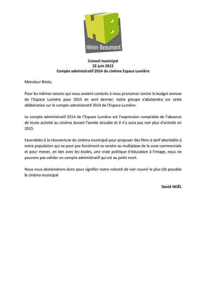 Conseil municipal du 22/06/15 : mon intervention sur le Compte Administratif 2014 de l'Espace Lumière