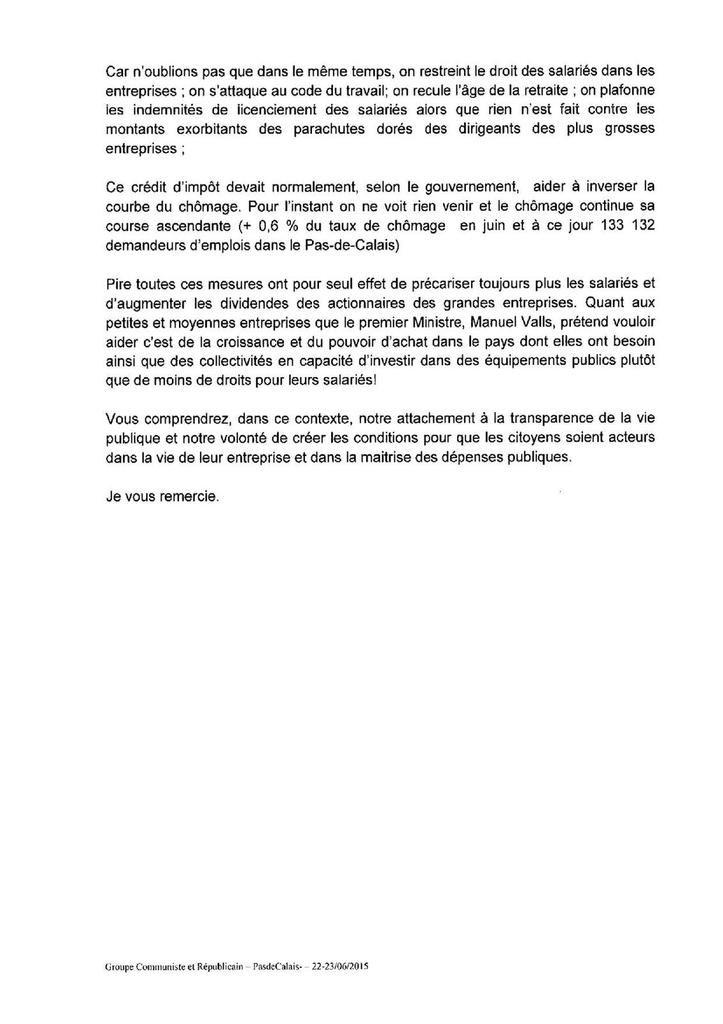 Conseil général : question de Danièle Seux sur l'utilisation du CICE (23-06-15)