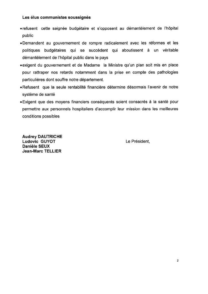 Conseil général : voeu des élus communistes pour l'hôpital public (23-06-15)
