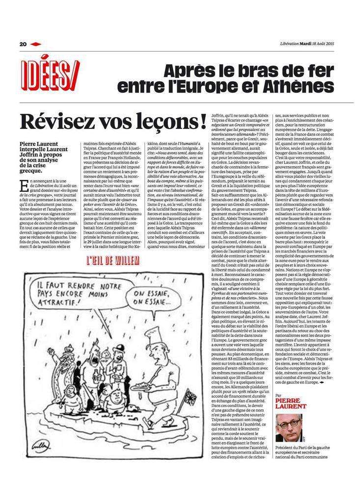 Révisez vos leçons ! - Une tribune de Pierre Laurent dans Libération en réponse à Laurent Joffrin