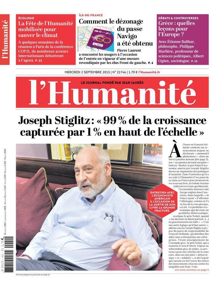 A la une de l'Humanité (02-09-15)