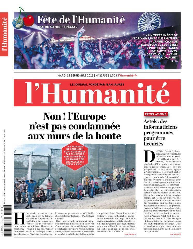 A la une de l'Humanité (15-09-15)