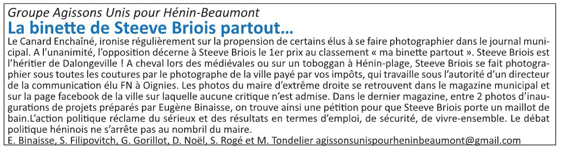 La tribune libre de l'opposition (Hénin-Beaumont c'est vous n°15, octobre 2015)