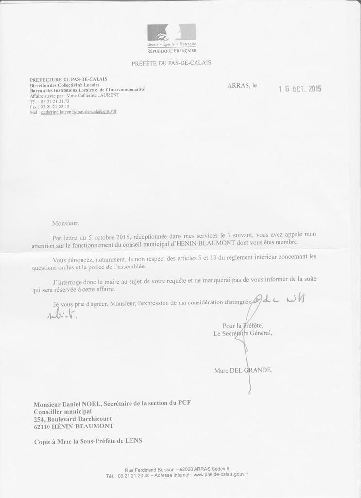 Conseil municipal : la réponse de la Préfète du Pas-de-Calais à mon courrier