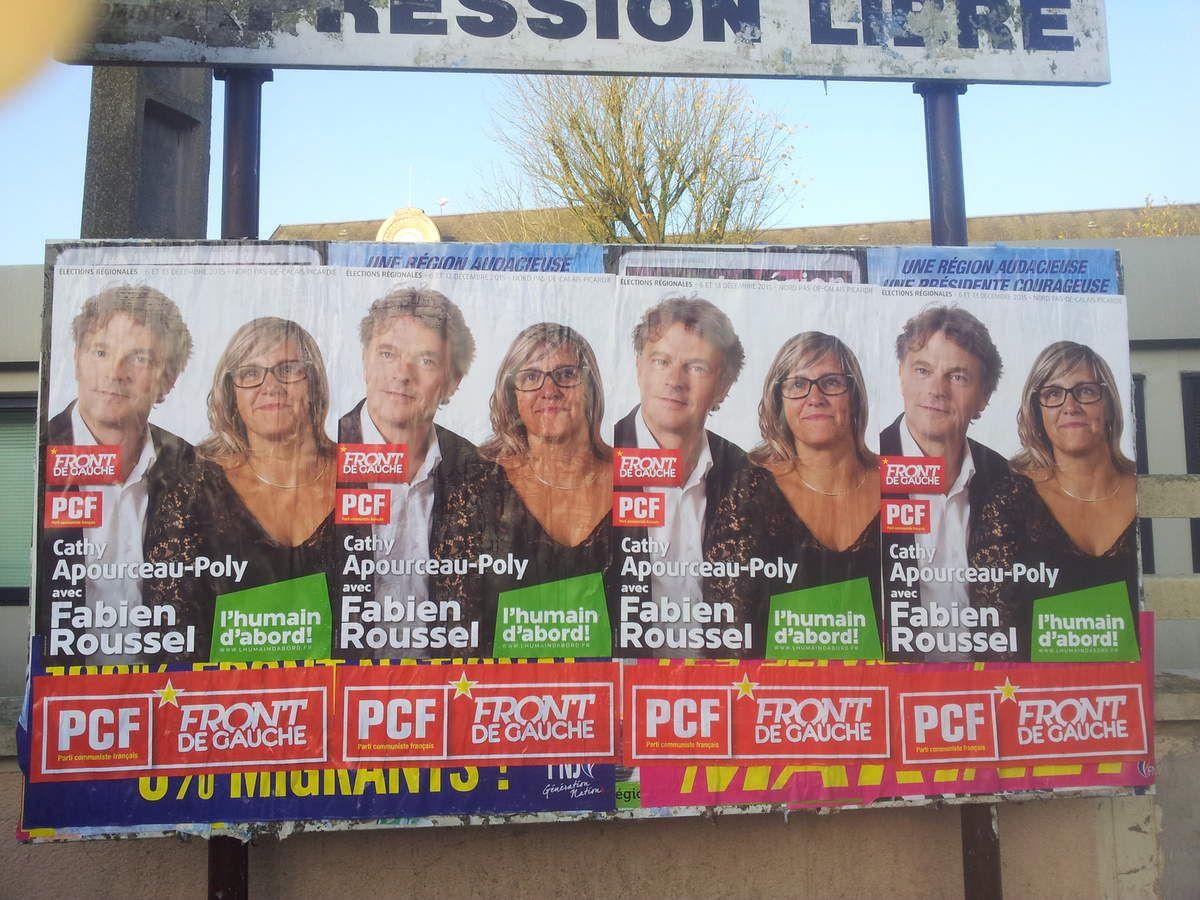 Campagne des régionales : un weekend de collage pour les communistes Héninois