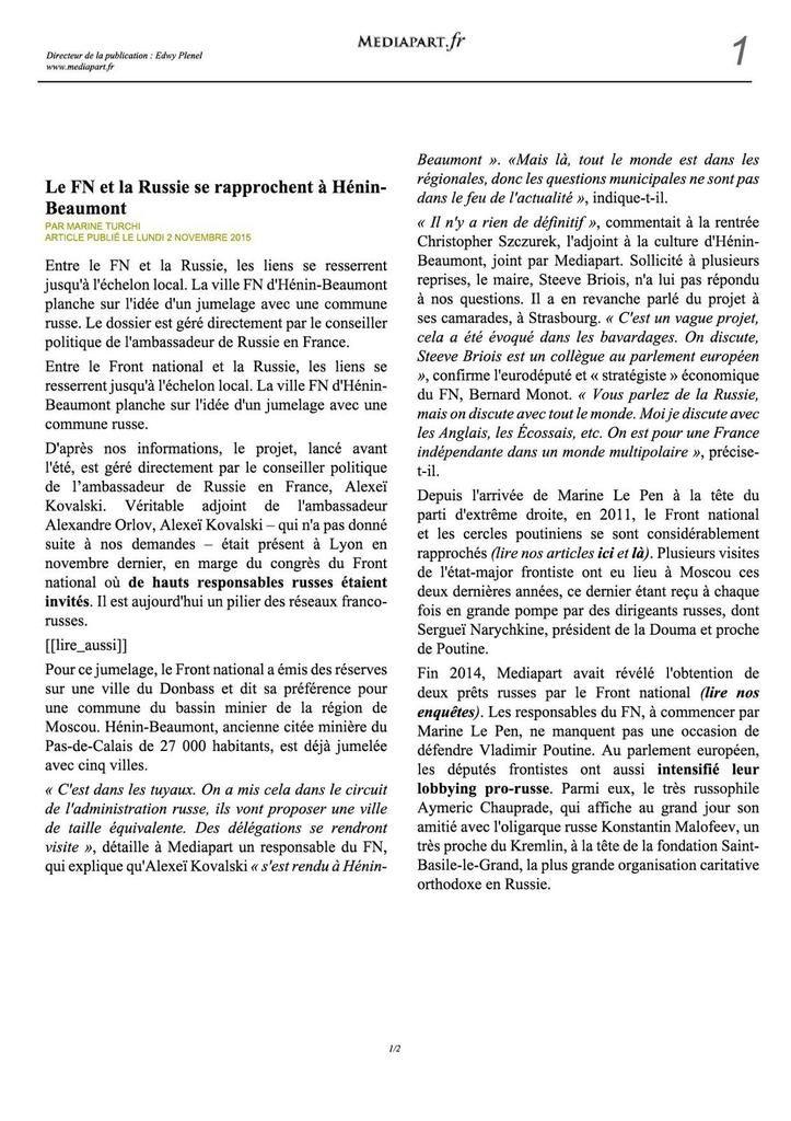 Le FN et la Russie se rapprochent à Hénin-Beaumont