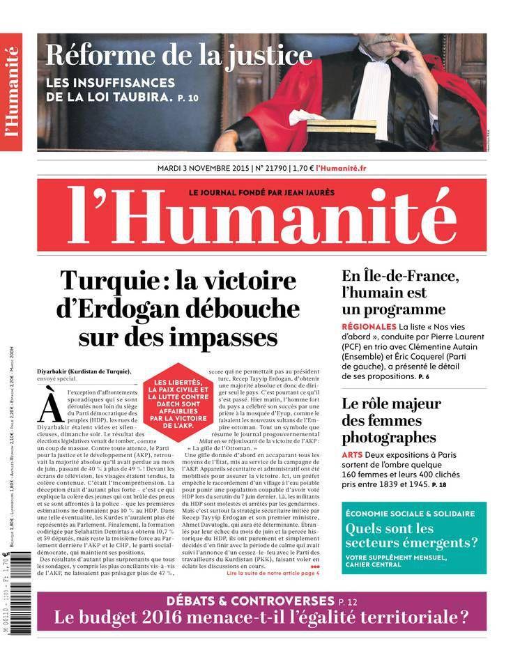 A la une de l'Humanité (03-11-15)
