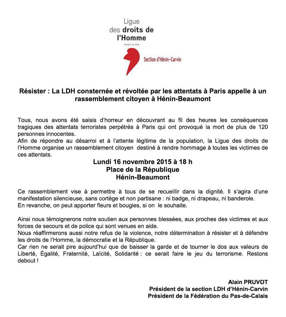 Attentats de Paris : la LDH appelle à un rassemblement citoyen demain à 18h à Hénin-Beaumont