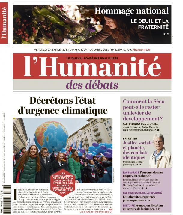 A la une de l'Humanité (27-11-15)
