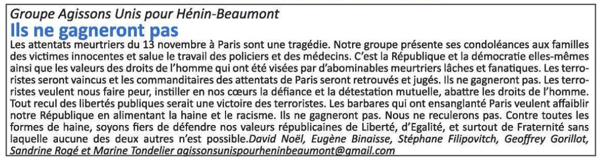 La tribune libre de l'opposition (Hénin-Beaumont c'est vous n°17, décembre 2015)