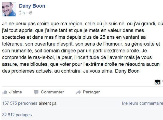 Dany Boon appelle à ne pas voter pour l'extrême droite