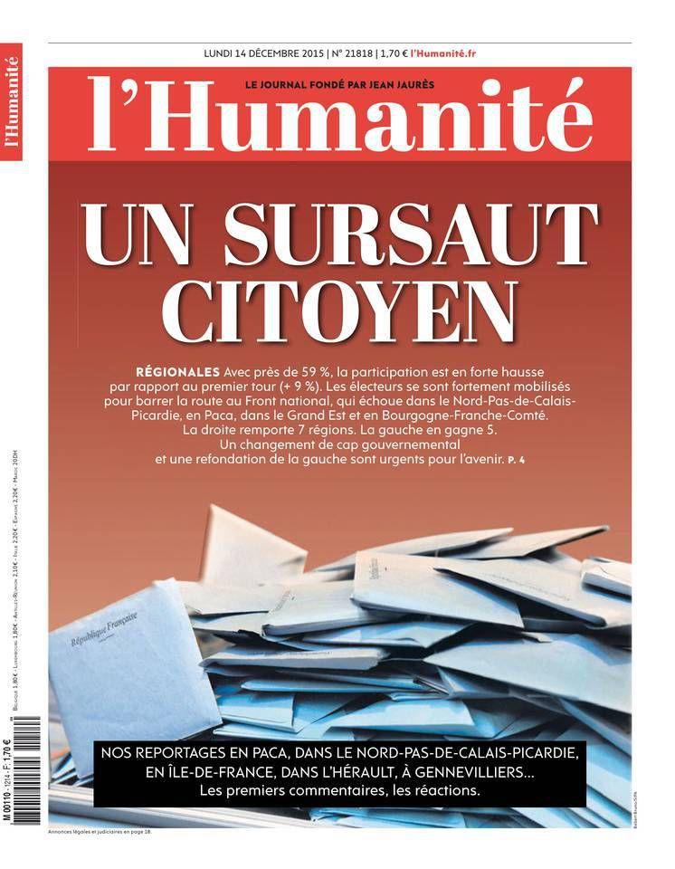 A la une de l'Humanité (14-12-15)