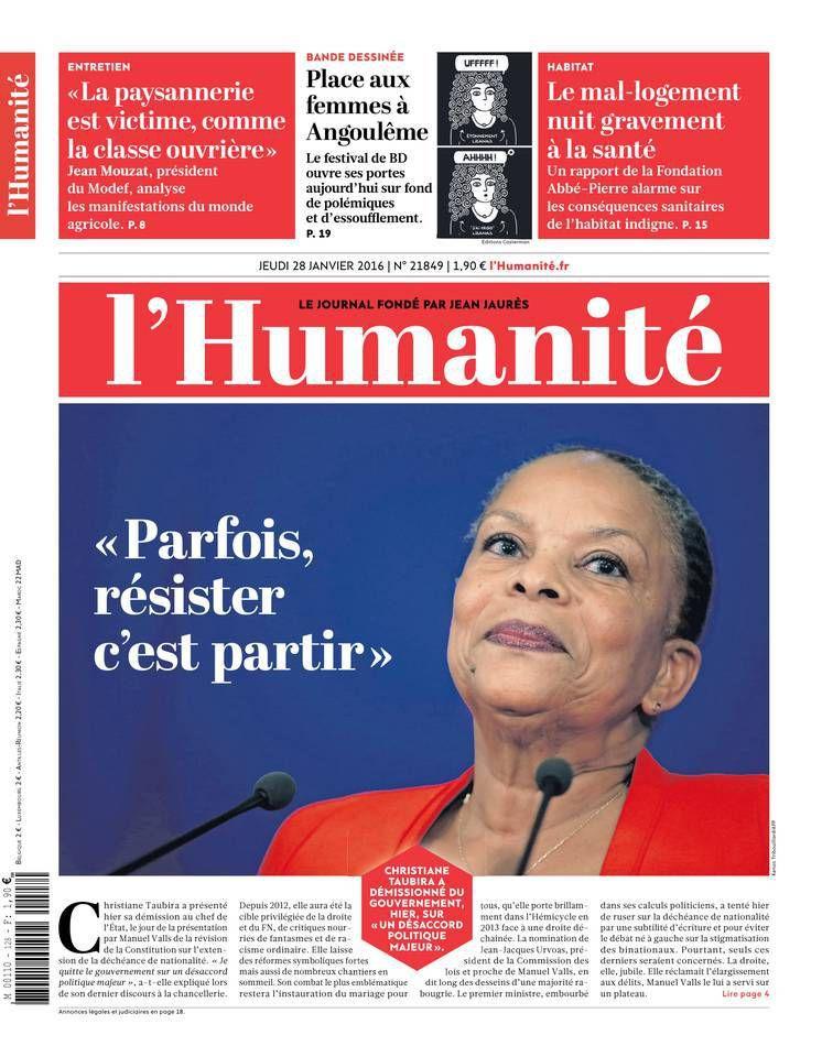 A la une de l'Humanité (28-01-16)
