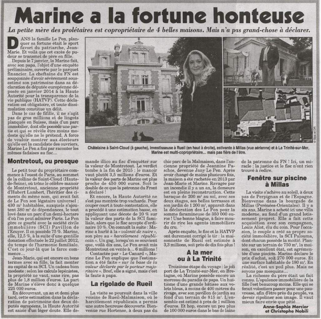 Marine a la fortune honteuse