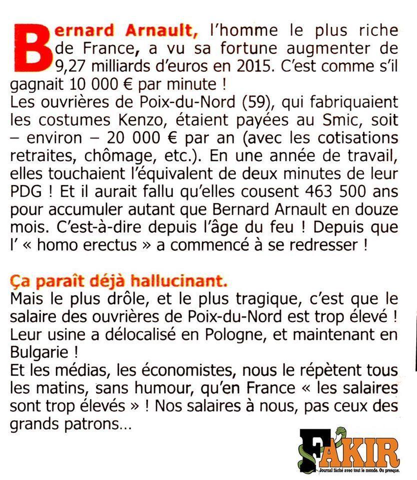 La fortune de Bernard Arnault et les ouvrières de Poix-du-Nord