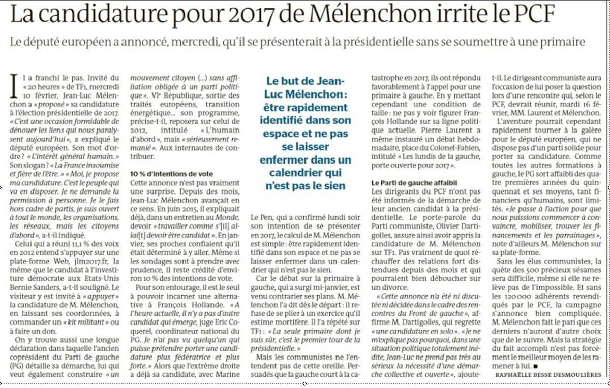 La candidature pour 2017 de Mélenchon irrite le PCF