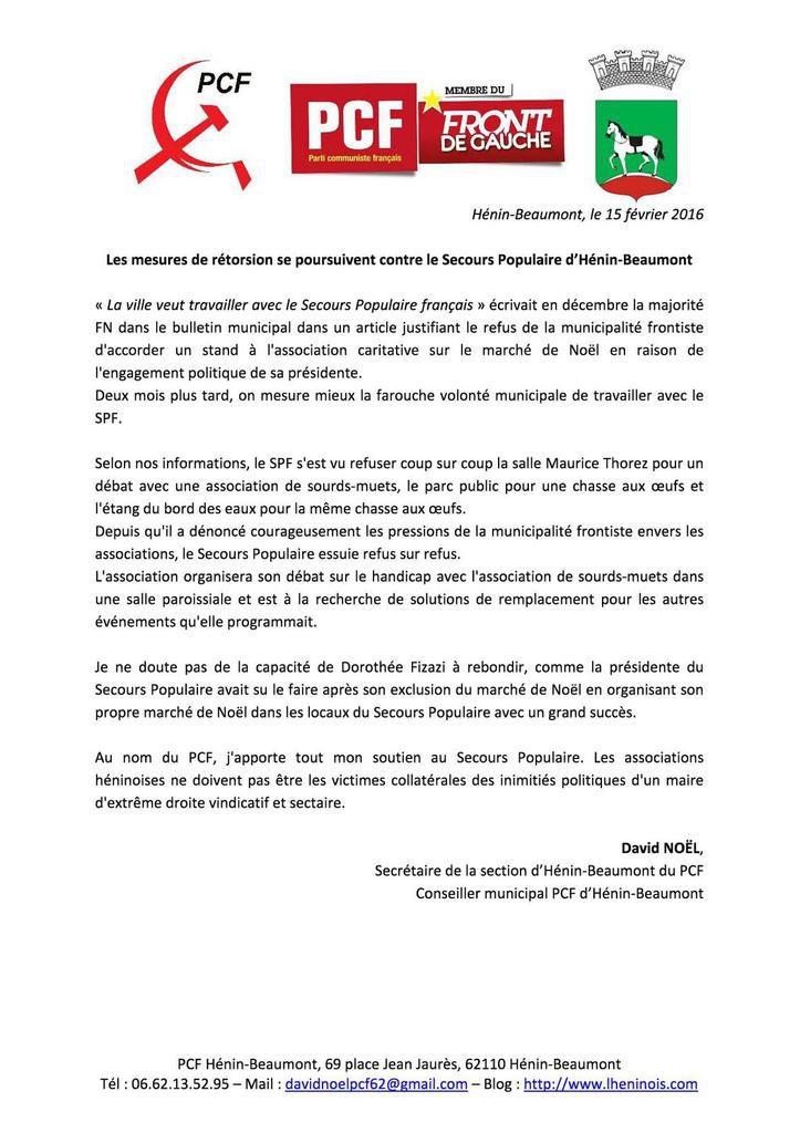 Les mesures de rétorsion se poursuivent contre le Secours Populaire d'Hénin-Beaumont