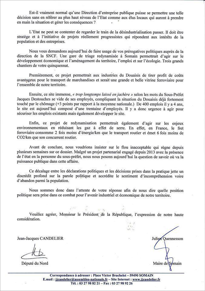 Menaces sur l'activité triage à la gare de Somain : les élus communistes écrivent à Guillaume Pépy