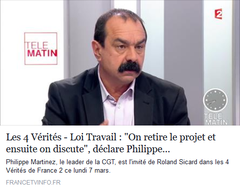 Philippe Martinez - Les 4 Vérités - 07/03/16
