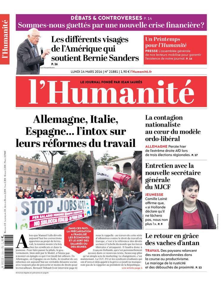 A la une de l'Humanité (14-03-16)