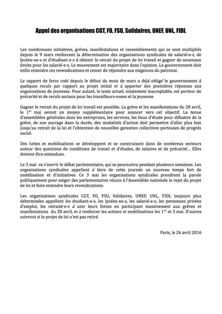 Loi travail : Appel des organisations CGT, FO, FSU, Solidaires, UNEF, UNL, FIDL