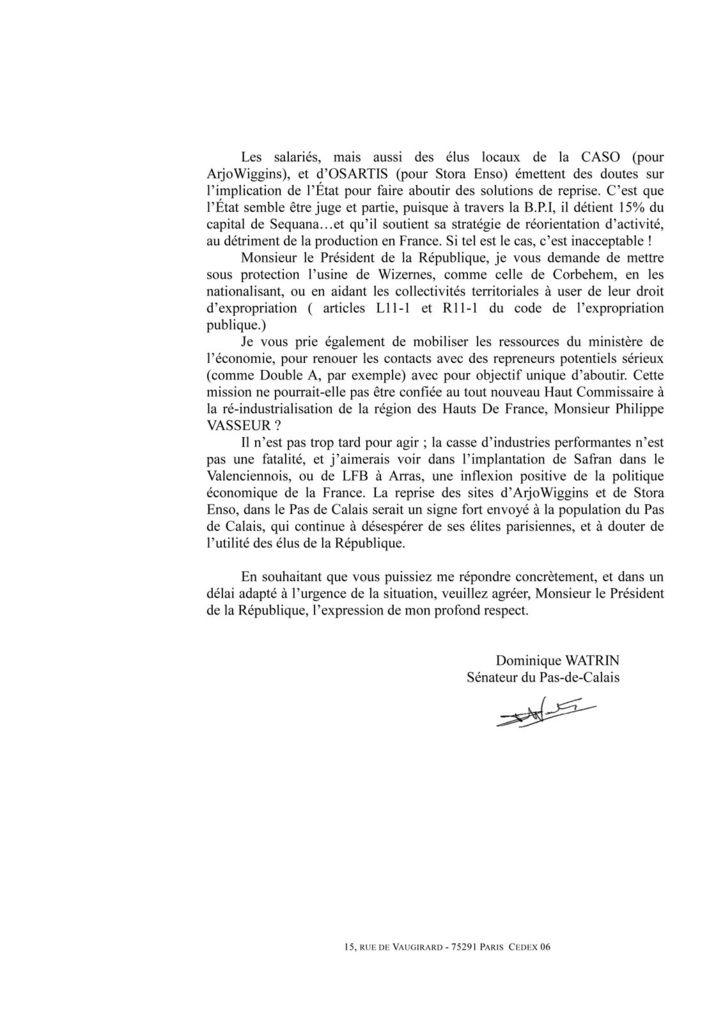 """ArjoWiggins : """"Il n'est pas trop tard pour agir"""" ! Le sénateur communiste Dominique Watrin écrit à François Hollande"""
