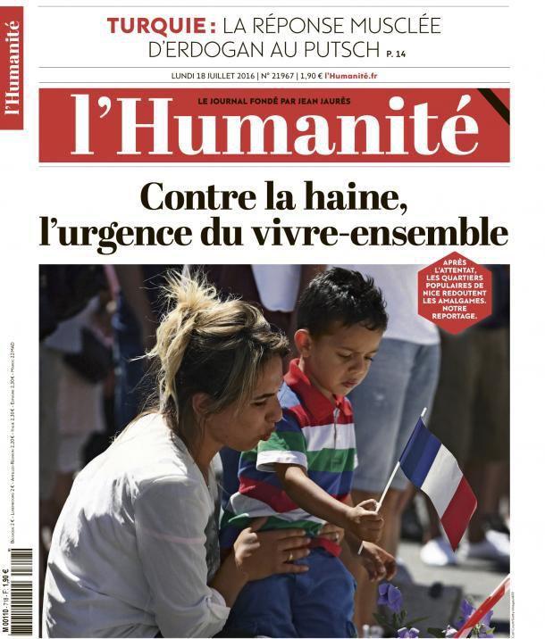 A la une de l'Humanité (18-07-16)