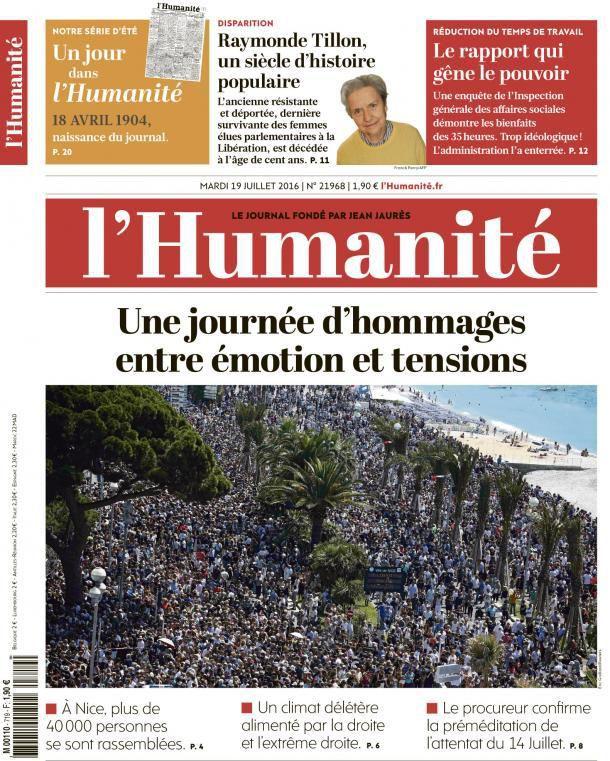 A la une de l'Humanité (19-07-16)