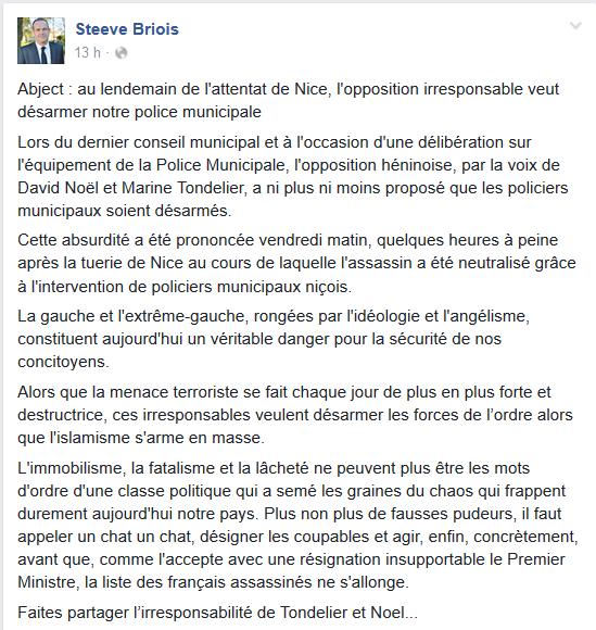 Aucun respect et aucune dignité : après les attentats de Nice, Steeve Briois provoque un tombereau d'injures contre les élus d'opposition