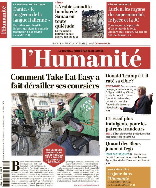 A la une de l'Humanité (11-08-16)