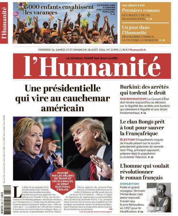 A la une de l'Humanité (26-08-16)