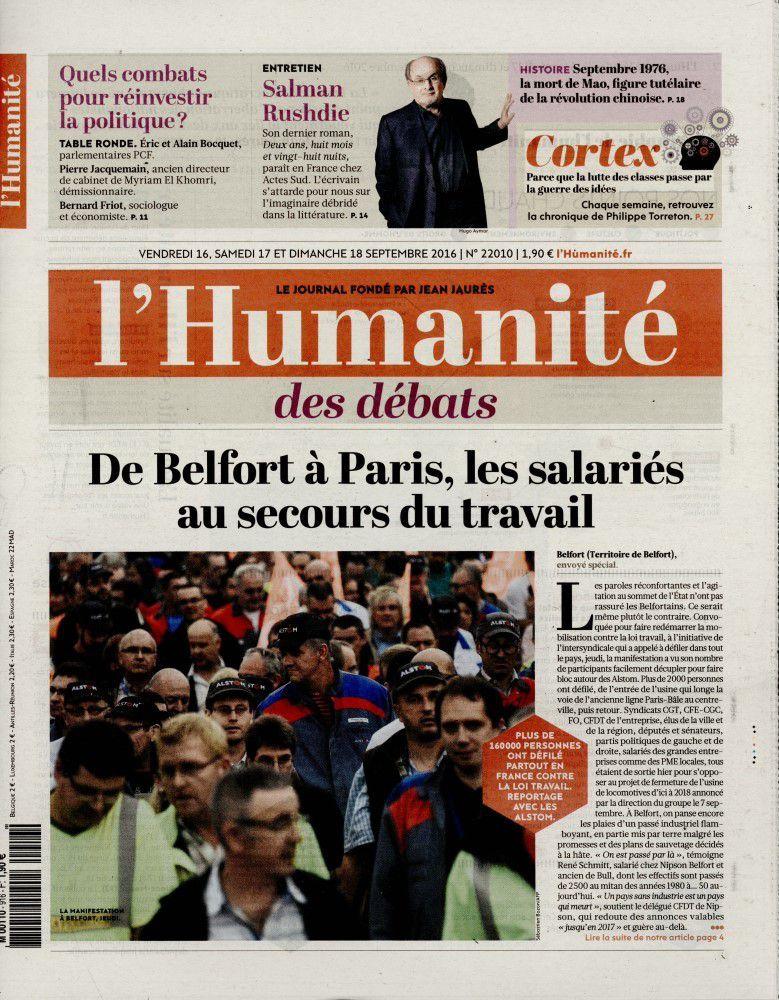A la une de l'Humanité (16-09-16)