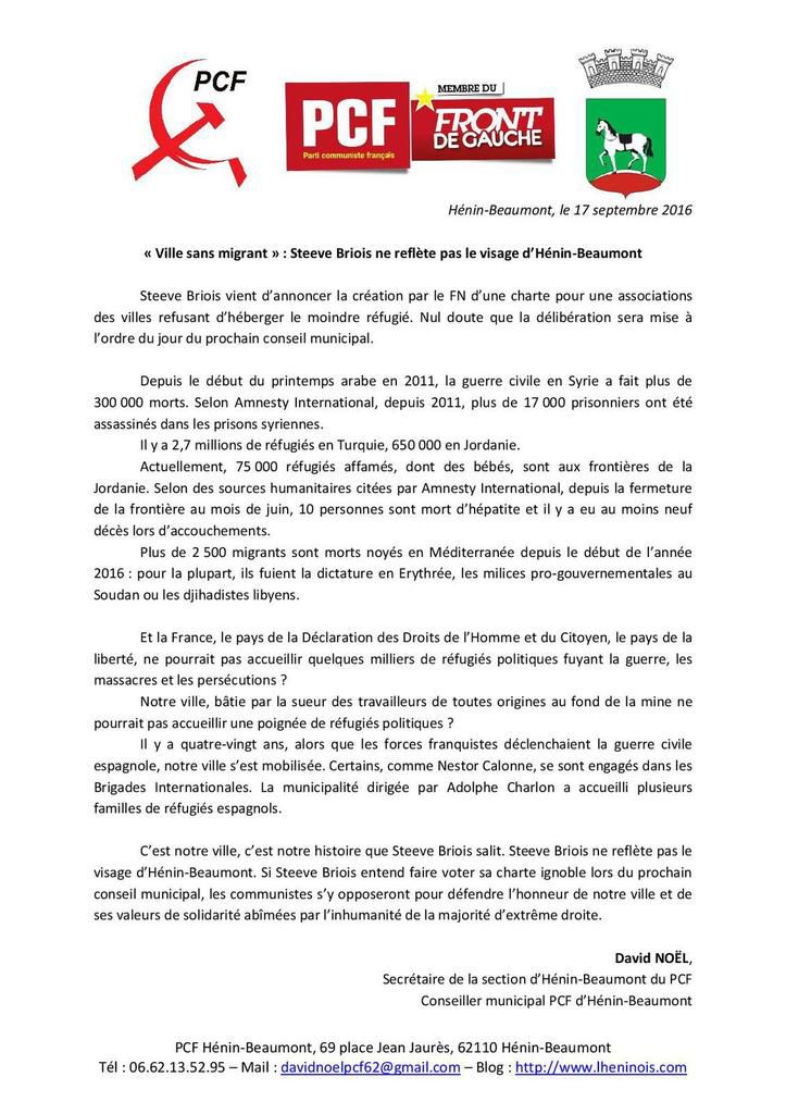« Ville sans migrant » : Steeve Briois ne reflète pas le visage d'Hénin-Beaumont