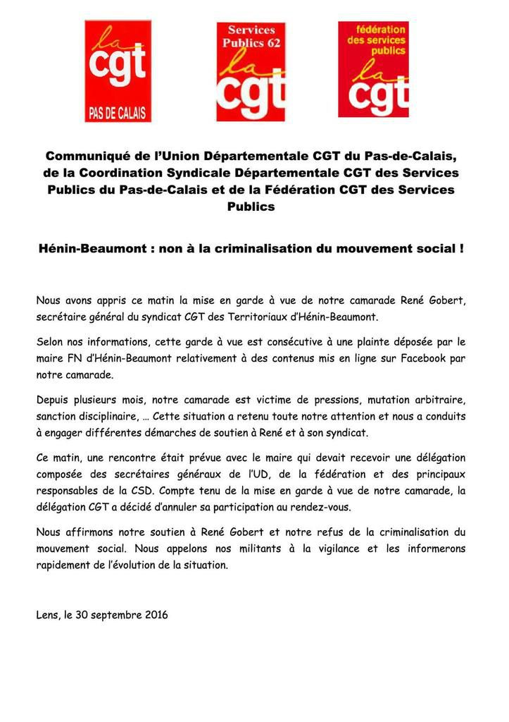 Hénin-Beaumont : non à la criminalisation du mouvement social !