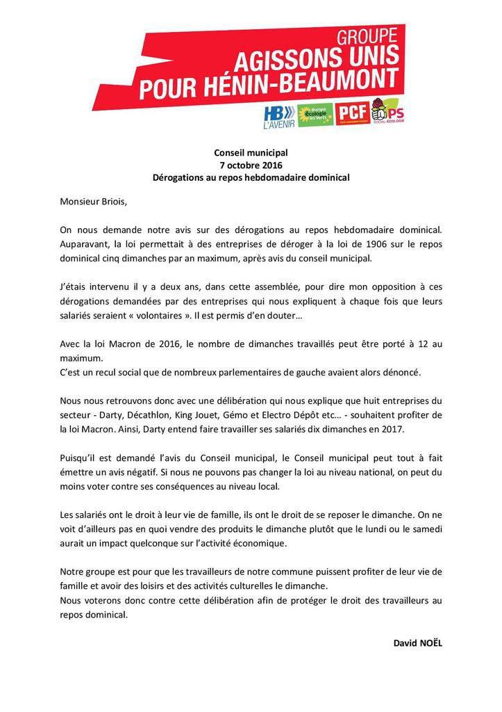 Conseil municipal du 07/10/16 : mon intervention sur les demandes de dérogations pour profiter de la loi Macron sur le travail du dimanche