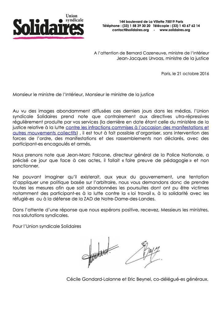 Manifestations de policiers : l'Union syndicale Solidaires écrit aux ministres de l'Intérieur et de la Justice