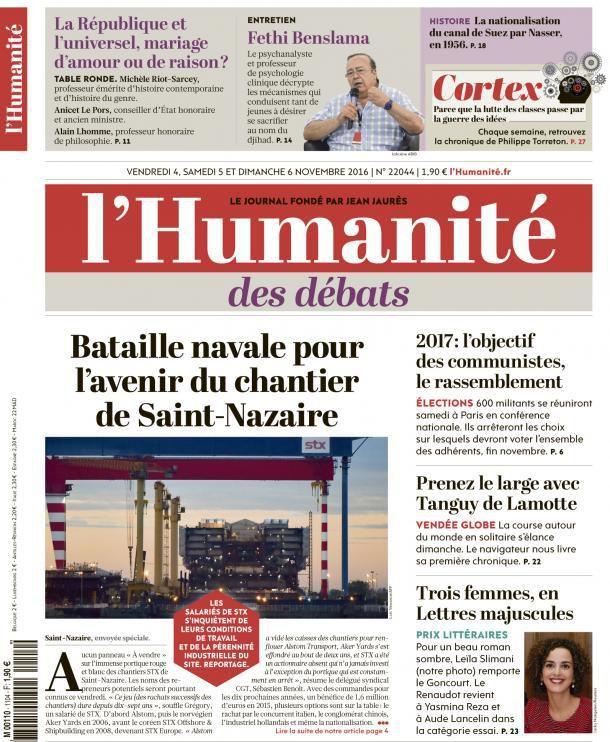 A la une de l'Humanité (04-11-16)