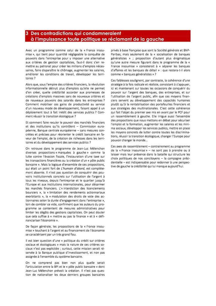 Le programme de la France insoumise : des choix contraires à ce pour quoi nous combattons