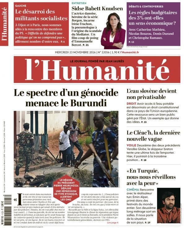 A la une de l'Humanité (23-11-16)